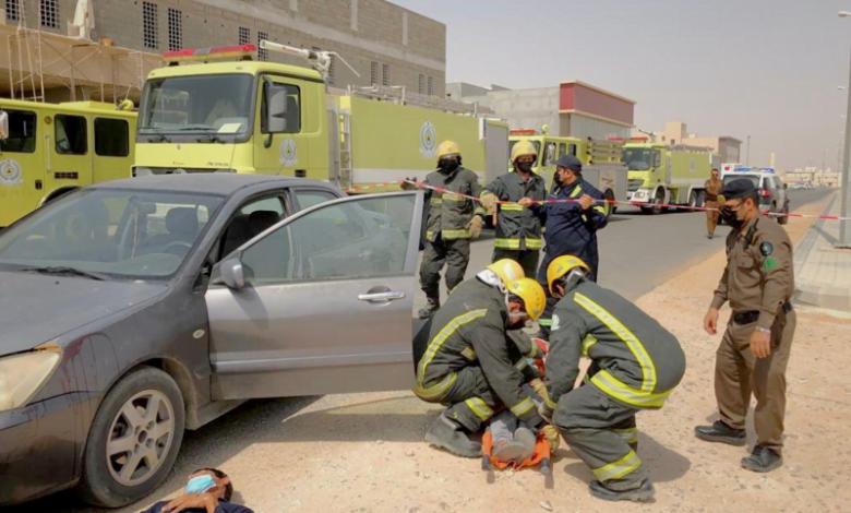 مستشفى الأمير سلمان بن محمد ينفذ فرضية لحادث سير مروري تدريبا للتعامل مع حوادث السير