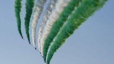 فريق فرسان الإمارات للاستعراضات الجوية يحتفل باليوم الوطني الـ91 للمملكة